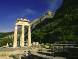 Tholos Temple, Sanctuary of Athena Pronaia and Mt. Parnassus Photographic Print by Martin Gray