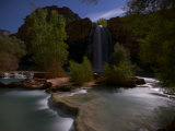 Lit Only by the Moon, Havasu Falls Thunders Through the Night Photographic Print by Michael Nichols