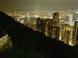 Hong Kong Skyline Seen from the Peak at Night Photographic Print by  xPacifica