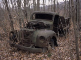 Broken Down and Dilapidated Vintage Truck in a Woodland Photographic Print by Paul Damien