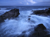 High Tide Brings in Waves on a Rocky Shoreline Photographic Print by Jim Richardson