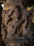 Stone Carving of the Goddess Saraswati Photographic Print by Martin Gray
