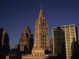 Sunlight on the Wrigley Building Tower and Tribune Building Photographic Print by Paul Damien