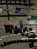 Laundry on Clotheslines Casts Shadows Outside a Housing Complex Fotografisk trykk av Lynn Johnson