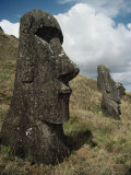 Moai Statues Photographic Print by Martin Gray