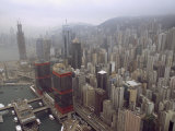 Aerial View of Central Hong Kong and its Skyscrapers Photographic Print by  xPacifica