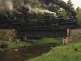 Cass Scenic Railroad Train Crossing a Bridge over a Stream Photographic Print by Raymond Gehman