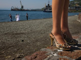 Chinese-Made Shoes Worn by a Bridesmaid in the Port of Petropavlovsk Photographic Print by Randy Olson