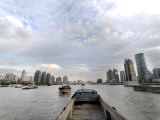 Barges Going Up the Huangpu River in Shanghai, China Photographic Print by  xPacifica
