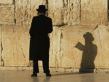 Hasidic Jew Prays at the Wailing Wall Photographic Print by Martin Gray