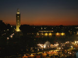 Koutoubiya Mosque and Marrakech at Night Photographic Print by Martin Gray