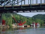 Construction Site and Equipment Near a Bridge on the Kanawha River Photographic Print by Raymond Gehman
