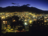 Night View of Quito with the Volcano Pichincha on the Horizon, Photographic Print
