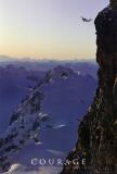 Moed, sprong van berg met daarbij Engelse tekst: Courage Poster