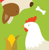 Farm Group: Hen and Dog Art by Yuko Lau
