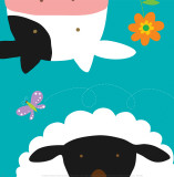 Farm Group: Cow and Sheep Print by Yuko Lau