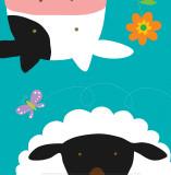 Farm Group: Cow and Sheep Print by Yuko Lau