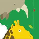 Safari Group: Giraffe and Rhino Plakater af Yuko Lau