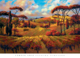 Evening Vineyard Print by Teresa Saia