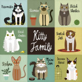 Kitty Family Posters van Jenn Ski