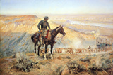 The Wagon Boss Premium Giclée-tryk af Charles Marion Russell