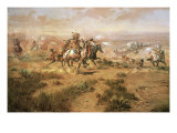 The Attack on the Wagon Train Premium Giclée-tryk af Charles Marion Russell