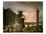 Architectural Landscape with Obelisk Posters par Hubert Robert