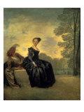 La Boudeuse, 1718 Giclee-tryk i høj kvalitet af Jean Antoine Watteau