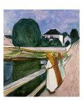Jentene på piren, 1901 Premium Giclee-trykk av Edvard Munch
