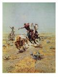 Cowboy Roping A Steer Giclee-tryk i høj kvalitet af Charles Marion Russell
