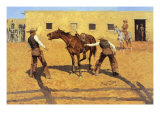 His First Lesson Premium Giclee Print by Frederic Sackrider Remington