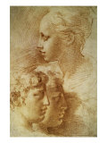 Three Profiles Konst av Parmigianino,