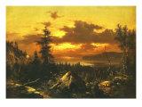 Sunset Glow Posters by Albert Bierstadt