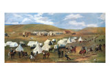 Cowboy Camp During the Roundup Giclee-tryk i høj kvalitet af Charles Marion Russell