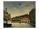 View of the Bridge at Sevres and the Hills at Clamart, St. Cloud and Bellevue, 1908 Giclee-tryk i høj kvalitet af Henri Rousseau