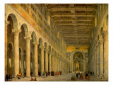 Interior of the Church of San Paolo Fuori Le Mura, Rome 1750 Posters by Giovanni Paolo Pannini