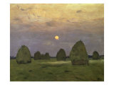 Haystacks Twilight, 1899 Premium Giclee Print by Isaak Ilyich Levitan
