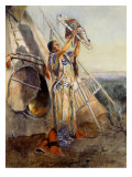 Sun Worship in Montana Giclee-tryk i høj kvalitet af Charles Marion Russell