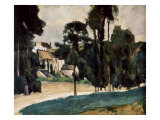 The Road at Pontoise Premium Giclee Print by Paul Cézanne