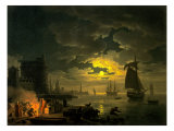 Entrance to the Port of Palermo by Moonlight, 1769 Prints by Claude-Joseph Vernet