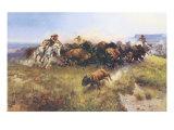 The Buffalo Hunt No. 39 Giclee-tryk i høj kvalitet af Charles Marion Russell