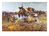 Camp Cook's Troubles Premium Giclée-tryk af Charles Marion Russell