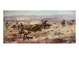 The Round-Up Premium Giclée-tryk af Charles Marion Russell