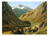 Indian Marauders in Party Fording Stream Premium Giclee Print by Henry F. Farny