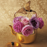 Roses, Teapot and Butterfly Poster von Louis Gaillard