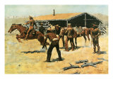 The Coming and Going of the Pony Express Premium Giclee-trykk av Frederic Sackrider Remington