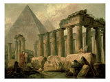 Pyramid and Temples Reproduction giclée Premium par Hubert Robert