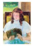 Jeune fille lisant Affiches par Mary Cassatt