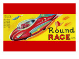 Round Race Rocket Car Posters