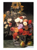 Flowers In a Vase Posters by Pierre-Auguste Renoir
